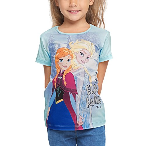 Disney maglietta frozen princess per bambini elsa & anna the frozen cotton blue - 116