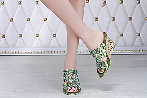 unicrystal Chaussures de Mules Diamante Party Wedge Sandales à enfiler pour femme green