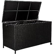 TecTake Cassapanca baule multiuso alluminio contenitore da giardino poly rattan esterno con rotelle nero 117 x 54,5 x 65 cm