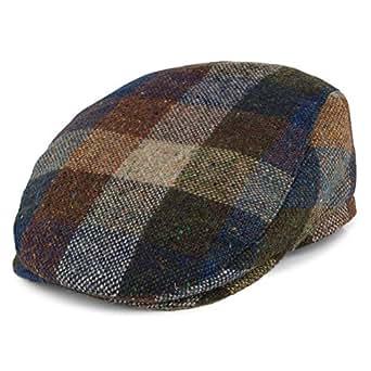Grau-Blau Failsworth Schieberm/ütze mit Schottenkaro aus Donegal Tweed
