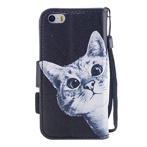 "MOONCASE iPhone 5/iPhone 5s/iPhone SE Coque, [Colorful Pattern] Wristbands avec Support Protection Étuis Case Card Holder Flip Cuir Housse pour iPhone 5s/iPhone SE 4.0"" Down Jacket Cat"