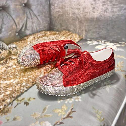 QIMITE Espadrilles,Fashion Freizeitschuhe Diamond Frauen Schuhe Schnürschuhe Flache Schuhe Zapatillas Mujer Frauen Wohnungen Schuhe Frau rot, Bild, 39