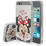 VCOMP Cubierta de silicona TPU Transparente Ultra Fina Dibujo animados bonito para Apple iPhone 5/ 5S/ SE - Minnie Mouse