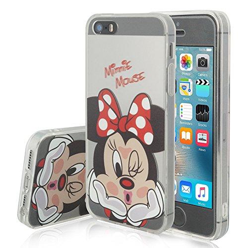 VCOMP® Transparente Silikon TPU Handy Schutzhülle mit Motiv Cartoon Disney für Apple iPhone 5/ 5S/ SE - Minnie Mouse -