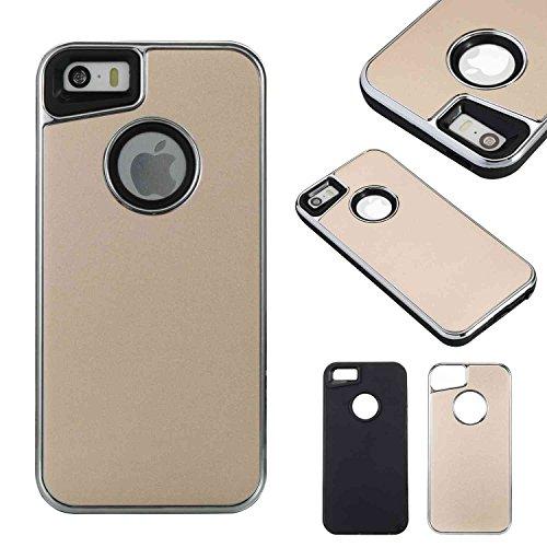 EKINHUI Case Cover Abnehmbare Dual-Layer-Shockproof-Rückseiten-Gehäuse Flexibler TPU-Innenschutz und verstärkter PC-Abdeckungs-Fall für iPhone 5s u. SE ( Color : Rose ) Gold