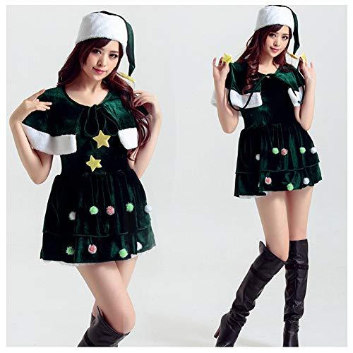 GSDZN - Grüner Elf/Santa Helfer Kostüm, Grün, Maximale Oberweite: 35,43 Zoll, Maximale Taille: 29,13 Zoll,OneSize -