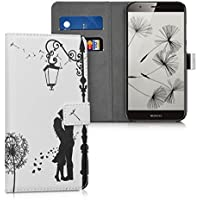 kwmobile Funda para Huawei G8 / GX8 - Wallet Case plegable de cuero sintético - Cover con tapa tarjetero y soporte Diseño Pareja y diente de león en negro blanco