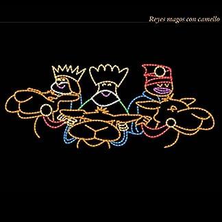 Reyes Magos con camello LED de 183,50x83cms apto para exteriores