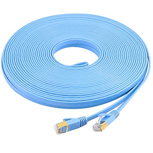 Yeung Qee Cat7 Ethernet-Kabel, High Speed Cat7 RJ45 Netzwerk-Patchkabel, flach, 10 Gigabit 600 MHz, LAN-Draht, geschirmt, für Modem, Router, PC, Mac, Laptop, PS2 3 4, Xbox und Xbox 360 100ft (Netzwerk Ps2)