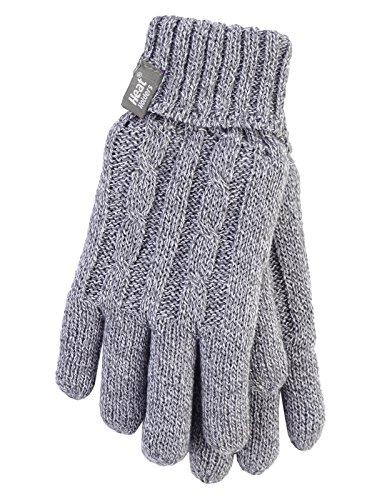 Heat Holders–Damen Thermo Hitze Handschuhegewoben mit Zopfmuster 2,3Tog–S/M Gr. S/M, hellgrau