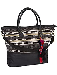 "SIX ""Essential"" große flexible Damen Handtasche Shopper Canvas schwarz gold Stickerei Ethno bunter Anhänger abnehmbarer Riemen 40x40x20 cm (463-794)"