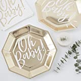 GOLD FOILED OH BABY! PAPER PLATES - OH BABY!