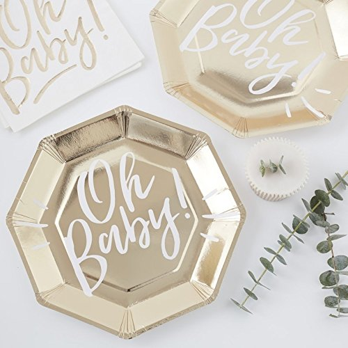 (GOLD FOILED OH BABY! PAPER PLATES - OH BABY!)