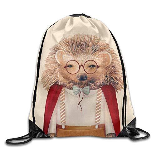 b369f7e03 KIMIOE Mochilas Large Drawstring Bucket Bag Backpack Bulk Kids Sack Bag Hedgehog  T Shirt White Cute