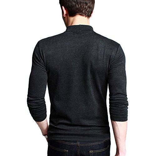 OCHENTA Herren Langarmshirt Rollkragen Slim Fit Freizeit T-Shirts Dunkelgrau