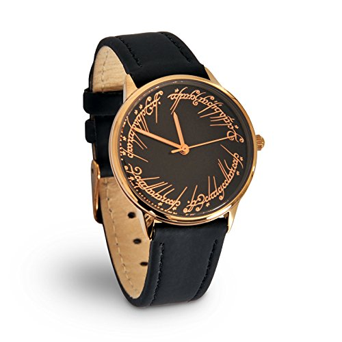 Preisvergleich Produktbild Herr der Ringe Armband Uhr Damen Der Eine Ring Elbenwald Lederarmband schwarz