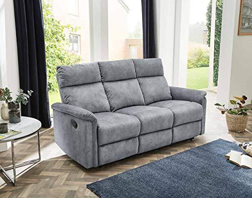 lifestyle4living 3 Sitzer Sofa in grauem Velour mit praktischer Relaxfunktion, verstellbares Funktionssofa zum relaxen und genießen