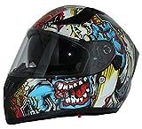 protectWEAR Casco moto Casco integrale con visiera parasole integrata e visiera pieghevole V128-MU-XS