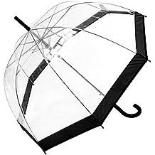 Paraguas de cúpula de transparente con ribete de color