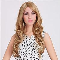 Meylee Pelucas Natrual buscando mujeres Rubio de moda largo y rizado peluca Natural Real mira +