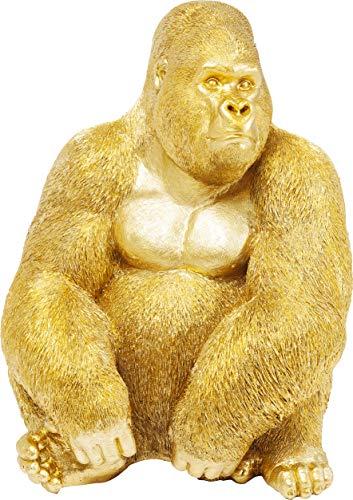 Kare Design Deko Figur Gorilla Side XL Gold, große Dekofigur in Form eines Gorillas, ausgefallene Wohnzimmer Dekoration, Dekofigur Gorilla Gold, Dekoobjekt Affe (H/B/T)76x60x55cm -