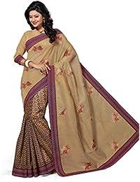 Aarti Apparels Women's Designer Embroiderd Cotton Saree_Beige_CW-6220