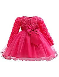 Minshao Girls Lace Dress Toddler Baby Girl Floral Princess Wedding Baptism Dress Long Sleeve Formal Party Wear for 3 Months-6 Years Old