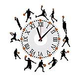 Reloj de pared Wall DealMux Hombre Baloncesto extraíble DIY de la familia 3D Tiempo Arte de la etiqueta engomada de la decoración para el hogar sitio de la oficina