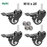 MySit 4 x Heavy Duty 2'/50mm Swivel Rubber Stem Casters With Brake Lock, Black PU Castor Workbench Trolley Furniture Wheels, Screw Bolt M10x25