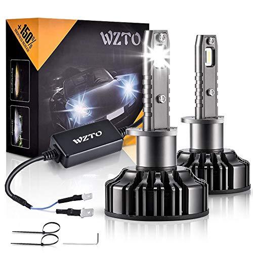 Lampadine LED H1,WZTO 70W 12000LM Fari Abbaglianti o Anabbaglianti per Auto, Lampada Sostituzione per Alogena Lampade e Xenon Luci,Impermeabilità IP65 Kit LED,Chip CSP,12V-24V,6000K Bianco Freddo