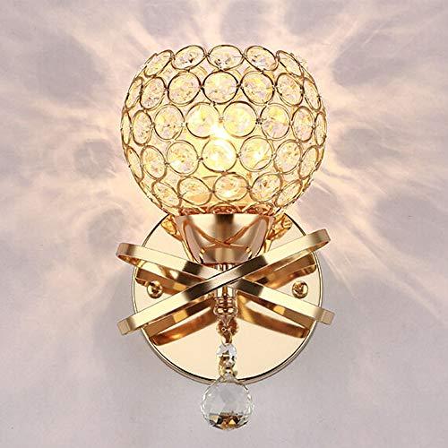 Lámpara de pared de estilo moderno, decorativa, de cristal dorado, para dormitorio, pasillo,...