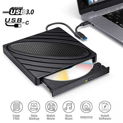 CD DVD Brenner Extern USB 3.0 und Typ-C-Schnittstelle Portable Slim RW DVD/CD Player Superspeed Tragbare CD Laufwerk für Win10/XP/Win7/Win8/Vista,Laptop, All Mac OS System ()