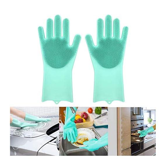 Adtala Dish Washing Cleaning Sponge Gloves Reusable Silicone Brush Heat Resistant Scrubber Gloves for Dish Washing,Kitchen Bathroom Cleaning,Pet Bathing,Car Washing1 Pair(13.6 Large) Multi Color