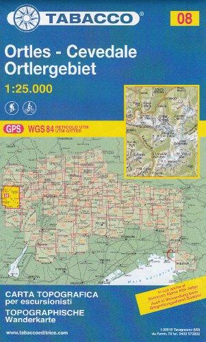 08 Ortles – Cevedale – Marmolada 1:25.000 randonnée topographique, le cyclisme et ski de randonnée carte (Dolomites, Alpes)