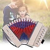 Bulufree Mini giocattolo a 10 pulsanti per fisarmonica Supporta corde per basso 14 note con panno di pulizia Strumento musicale per bambini