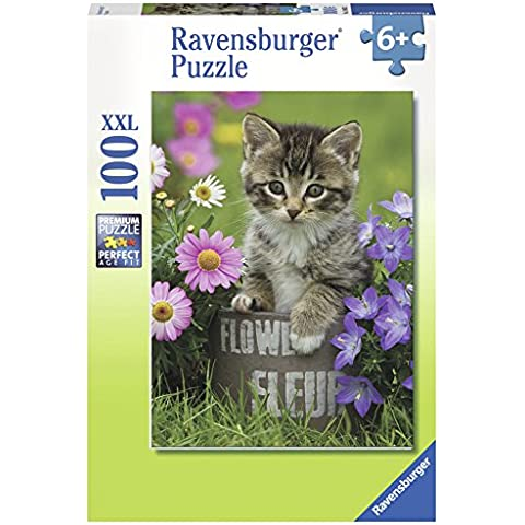 Ravensburger - 10847 - Puzzle - gatito entre las flores - 100 habitaciones