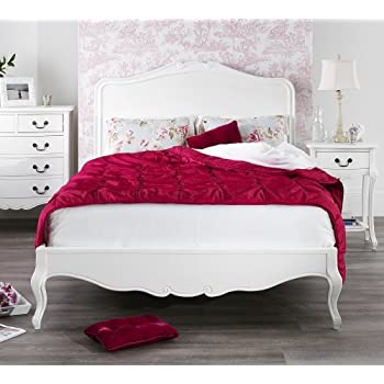 Juliette Antique White Double Bed with wooden headboard. Stunning ...
