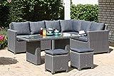 SUNNY SMART Somerset Dining-Lounge, rustic-vintage, Geflecht, 8 Personen, inkl. Polster-Kissen, Gartenmöbel-Set, Tisch mit Stühlen