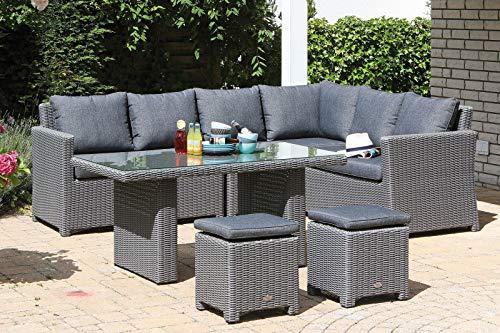 Somerset Outdoor-möbel (SunnySmart Sunny SMART Somerset Dining-Lounge, Rustic-Vintage, Geflecht, 8 Personen, inkl. Polster-Kissen, Gartenmöbel-Set, Tisch mit Stühlen)