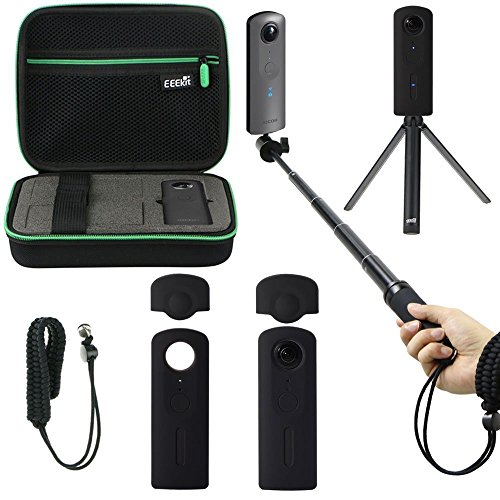 Antiurto protettiva custodia per il trasporto, selfie stick monopiede, mini treppiede, morbida in pelle, cinturino da polso per fotocamera Theta V 360, Eeekit all in one kit accessori