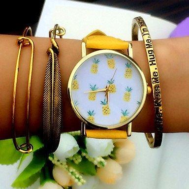 Fenkoo tropischen Früchten Ananas Uhr, Vintage-Leder-Uhr-Art, Frauen Uhren, freund Uhr