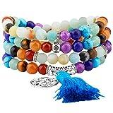 Shanxing Amazonite Bracelet Chakra Bouddhiste Collier Mala 108 Perles en Pierre...