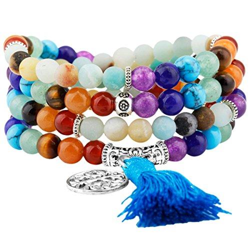 Shanxing 108 Perlen Edelstein Yoga Armband Schmuck Buddha Buddhistische Tibetische Gebetskette Mala Kette Halskette,7 Chakra & Amazonite