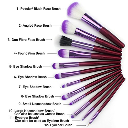 Glow -Lot de 12 pinceaux de maquillage dans un étui en cuir crocodile Violet.