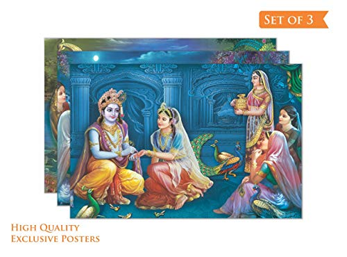 Paper Plane Design Radha Krishna with Gopis Wall Picture Poster for Home, Office and Factory Size -12 x 18 inches, Set of 3
