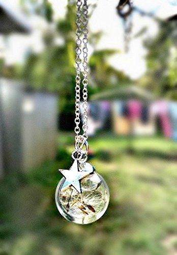 Collar del diente de león Dijes de estrella En plata de ley 925 con Caja de Regalo personalizado cadena Y amuleto Colgante de cristal regalo de cumpleaños para niñas