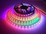 APA102 Pixel RGB LED Streifen, Visdoll 5M 300 Pixels APA102 Doppelte Signalleitung Traumfarbe LED Beleuchtung Streifen, IP67 Wasserdicht 60Leds / M 5050 SMD Digitale Flexible Streifen licht DC 5V (Schwarze PCB)