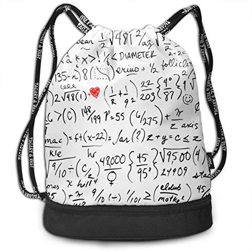 Rucksäcke,Sporttaschen,Turnbeutel,Daypacks, Funny Unisex Drawstring Beam Backpack Mathematical Formula Print Backpack - Mikrofaser Drawstring-rucksack