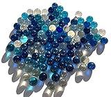 FAIRY TAIL & GLITZER FEE 100 Stück Bunte Glasmurmeln blau klar dunkelblau Murmeln 16mm Glas-Steine Murmel Vasen-Füllungen Blaue Murmeln Glitzersteine Dekoschalen Murmelspiel Glas