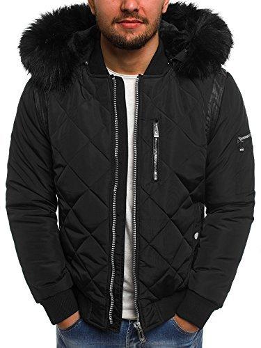 OZONEE Herren Winterjacke Parka Jacke Kapuzenjacke Wärmejacke Wintermantel Coat X-FEEL 88656 SCHWARZ M